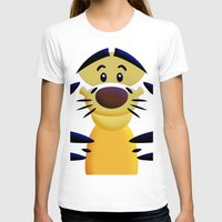 cartoons T-shirts featuring Cute Orange Cartoons Tiger Apple iPhone 4 4s 5 5s 5c, ipod, ipad, pillow case and tshirt by Three Second