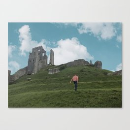 Corfe Castle and the Sky medieval Canvas Print