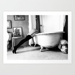 Head Over Heals - Female in Stockings in Vintage Parisian Bathtub black and white photography - photographs wall decor Art Print