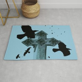 Gothic Cross Headstone With Crows and Ravens Rug