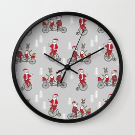 Santa christmas holiday hipster kids tandem bike with reindeer grey Wall Clock