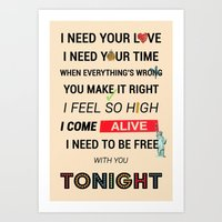 ellie goulding Art Prints featuring I Need Your Love ; Ellie Goulding feat. Calvin Harris by Wis Marvin