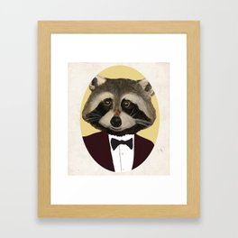 Sophisticated Raccoon Framed Art Print