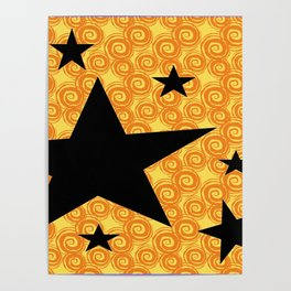 balck star and orange spiral Poster