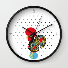 Famous Rooster of Barcelos 01 | Lucky Charm & Polka Dots Wall Clock