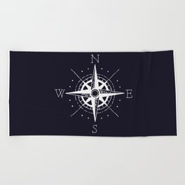 Navy Nautical - White Compass Beach Towel