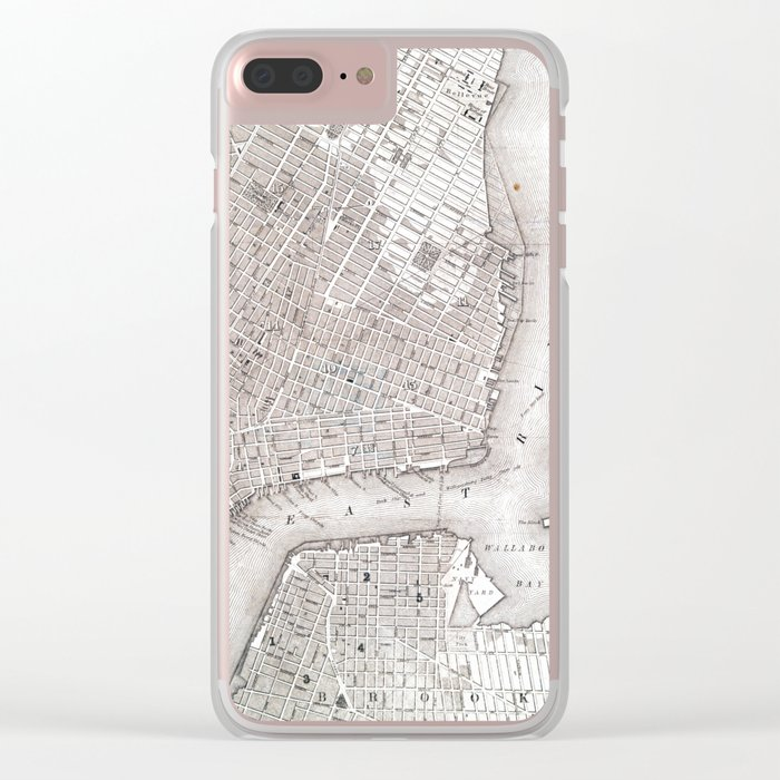 Vintage New York City Map Clear iPhone Case
