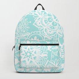 Light Blue and White Mandala Pattern Backpack