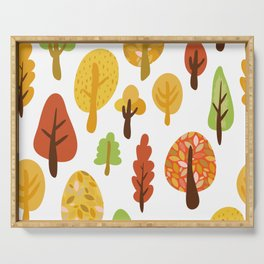 Autumn Forest Deciduous Trees Leaves Changing Colors  Serving Tray