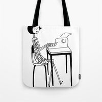 typewriter Tote Bags featuring Typewriter by flapper doodle