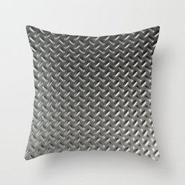 Dirty checkered steel plate Throw Pillow