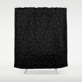 Black and Dark Grey Damask Pattern Shower Curtain