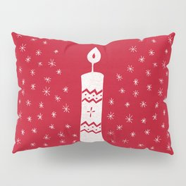 Christmas candle with sparkling stars on red Pillow Sham