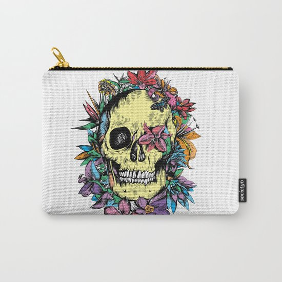 floral skull colorful drawing Carry-All Pouch