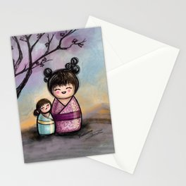 Kokeshis Mother and daughter Stationery Cards
