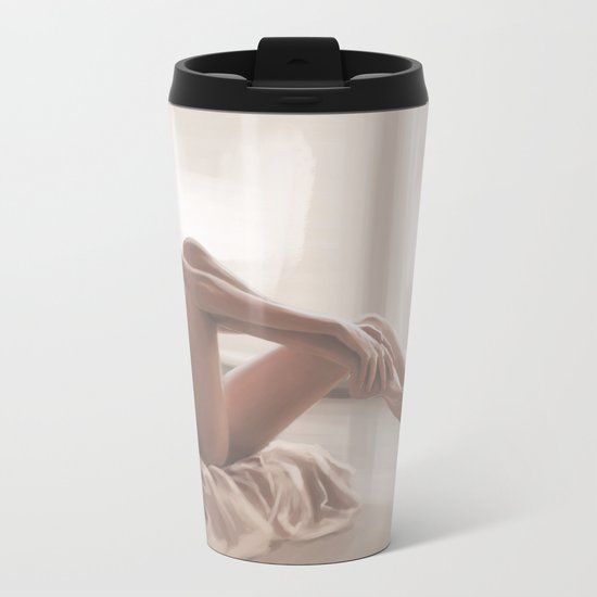 A girl in the morning Metal Travel Mug