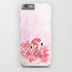 Tropical birds- Flamingo in LOVE with exotic flowers on #Society6 iPhone 6s Slim Case