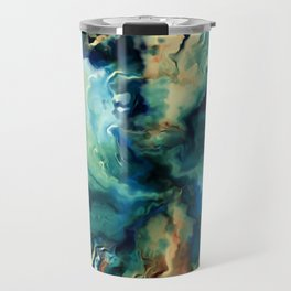 Marbled Ocean Abstract, Navy, Blue, Teal, Green Travel Mug