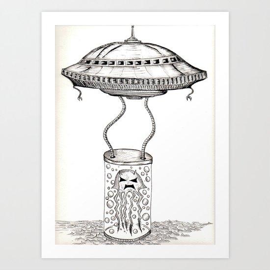 Jellyfish abduction Art Print