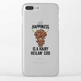 Happiness Is A Harry Heilan' Coo Highland Cow Clear iPhone Case