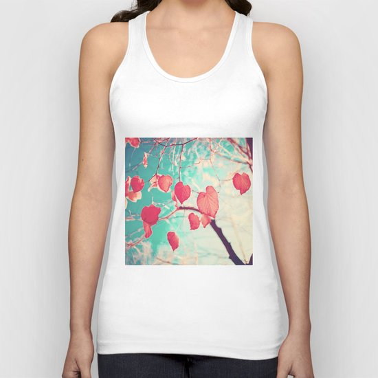 Our hearts are autumn leaves waiting to fall (Pink - Red fall leafs and brilliant retro blue sky) Unisex Tank Top