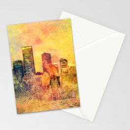 Abstract City Scape Digital Art Stationery Cards