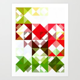 Red Rose with Light 1 Abstract Triangles 1 Art Print