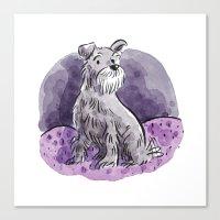 schnauzer Canvas Prints featuring Schnauzer by Renee Kurilla