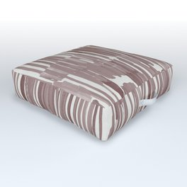 Simply Bamboo Brushstroke Red Earth on Lunar Gray Outdoor Floor Cushion