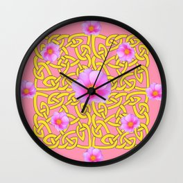 Decorative Yellow Celtic Pattern Pink-Coral  Rose Art Wall Clock