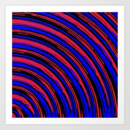 graffiti line drawing abstract pattern in red blue and black Art Print