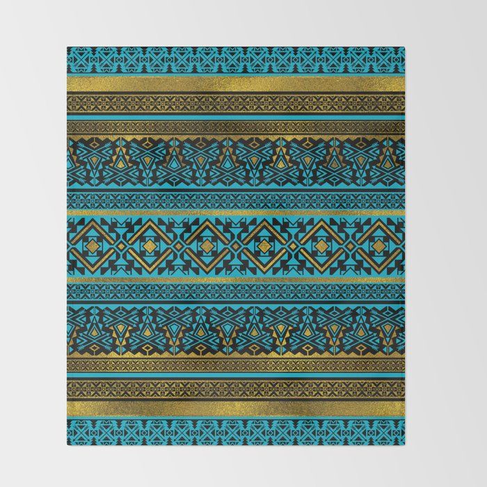 Mexican Style Pattern Black Teal And Gold Throw Blanket By K9printart