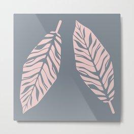 Tropical foliage Grey Pink #tropical #leaves #homedecor Metal Print