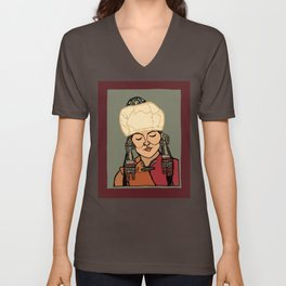 Turkic Woman in Traditional Hat Unisex V-Neck