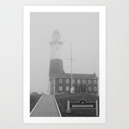Foggy Entrance of Montauk Lighthouse Art Print