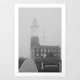 Foggy Entrance of Montauk Lighthouse Art Print