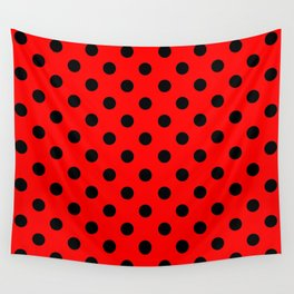 Polka Dots (Black & Classic Red Pattern) Wall Tapestry