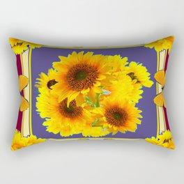 BUTTERFLY SUNFLOWER BOUQUETS BURGUNDY ART Rectangular Pillow