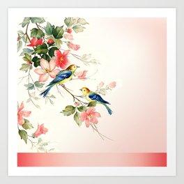 VINTAGE LOVE BIRDS | blush pink white Art Print