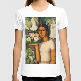 Mujer con Fiores (Bell Flowers, Dahlia & Calla Lilies) Flower Seller portrait by Alfredo Martinez T-shirt