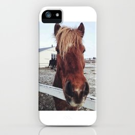 Brown horse face iPhone Case
