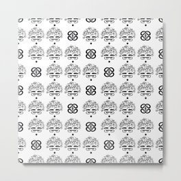 curly-headed boy (dumbfounded) seamless repeat pattern in next-level black and white Metal Print