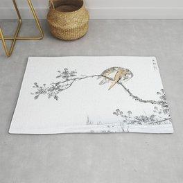 Kingfisher Stalking Fish From Tree - Vintage Japanese Woodblock Print Art By Numata Kashu Rug