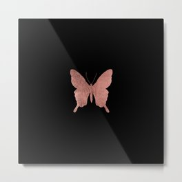 Elegant trendy black faux rose gold butterfly Metal Print