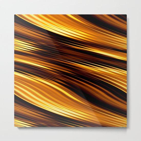 Abstract Orange And Black Waves Metal Print