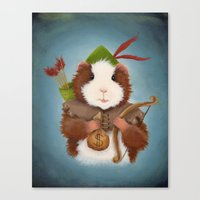 guinea pig Canvas Prints featuring Guinea Pig Robin Hood by When Guinea Pigs Fly