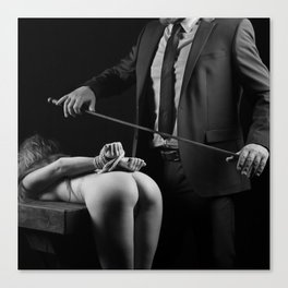 Photography Spanking Art - Nude or naked woman is spanked Canvas Print
