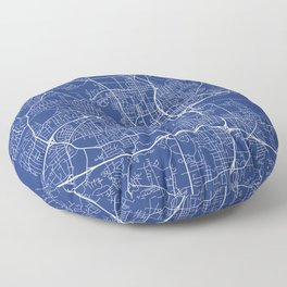 Winston-Salem Map, USA - Blue Floor Pillow