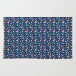 Denim Look Floral and Insect Pattern Rug