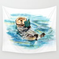 otter Wall Tapestries featuring Otter by Anna Shell